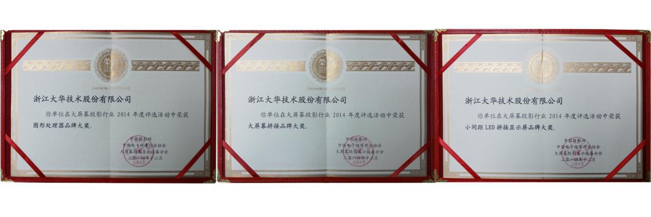 大华股份荣获2014年度大屏拼接品牌等三项大奖