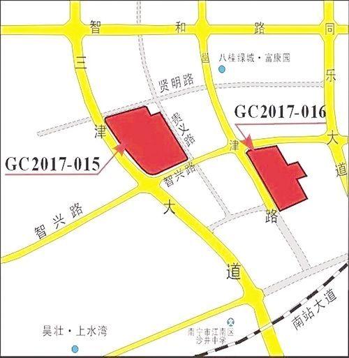 位于江南区三津大道东侧、智兴路北侧的两幅地块位置示意图