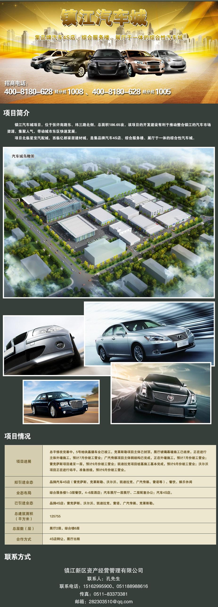 镇江汽车城集品牌汽车4s店,综合服务楼,展厅于一体的.