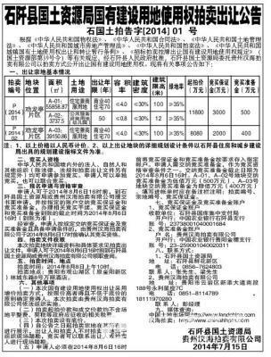 贵州铜仁市石阡县国有建设用地使用权(拍卖时间:8月8日)